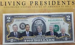5 Living Presidents Colorized Bank Note 2 Bill Legal Tender W/ Book And Coa