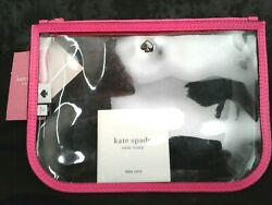 NWT Kate Spade Jae Slim Clear Cosmetic Pouch radiant pink with Emblem $29.99