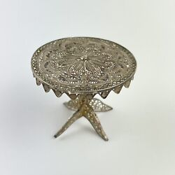 Antique Solid Low Grade Silver Tested Filigree Floral Round Miniature Table