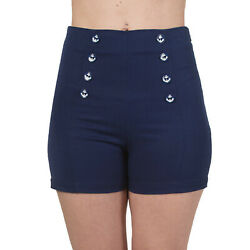 Nautical Sailor Button Embossed Anchor Rockabilly 50s Shorts By Banned Apparel