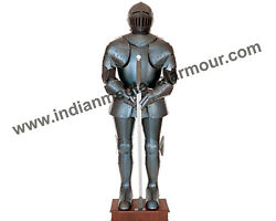 Gun Blued Medieval Knight Wearable Suit Of Armor Crusader Combat Full Body Armor