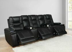 Black Leatherette Power Headrest 3 Reclining Sofa Theater Seat Console Furniture