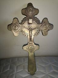 Antique Russian Orthodox Large Blessing Cross Crucifix