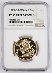 Great Britain Uk 1983 2 Pound/sovereign 0.47 Oz Agw Gold Proof Coin Ngc Pf69 Uc