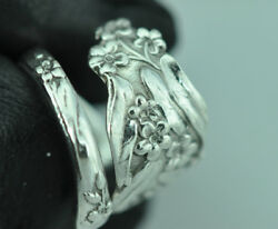 Beautiful 925 Sterling Silver Forget-me-not Flower Heavy Spoon Ring