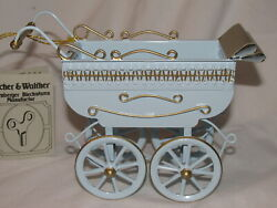 Rare Tucher And Walther Blue Miniture Baby Carriage 'd With Tags Germany