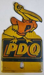 Rare Pdq Petrol Corp. Gas Oil Adv. License Plate Topper Calf. 1940s Embossed