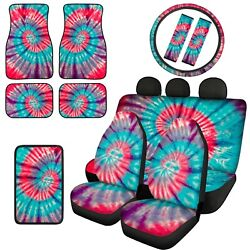 Tie Dye Car Front Rear Floor Mats Combo With Seat Covers Armrest Pads 12/14pc