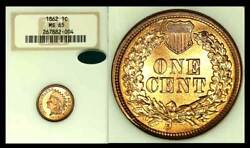 1862 1c Ms65 Ngc/cac Indian Cent