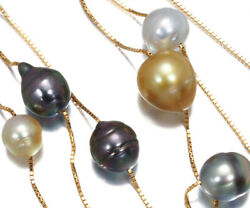 Auth Tasaki Necklace White And Black Pearls Golden Pearls Station 18k Yellow Gold