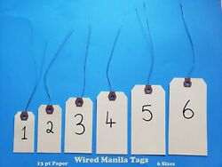Wired Manila Shipping Tags Sizes 1 2 3 4 5 6 Pre-strung Inventory Hang Labels