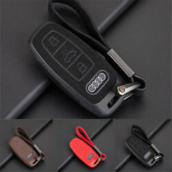 Car Key Case Cover Chains Protection For Audi A3 A5 A8 Q3 Q5 R8 Suede Leather