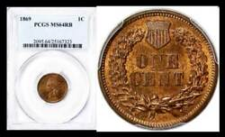 1869 1c Ms64rb Pcgs-only 142 Finer Indian Head Cent