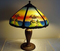 Antique Reverse Painted Lamp. Bronze Base, Lake Scene, Early 20th Century.