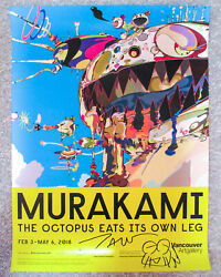 Takashi Murakami Signed Sketch 18x24 And039gero Tanand039 Vancouver Art Gallery Poster Jsa