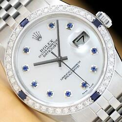 Mens Rolex Datejust 16014 Mother Of Pearl Sapphire 18k White Gold And Ss Watch