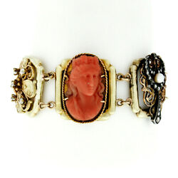 Antique Victorian 14k Gold And Silver Diamond Garnet Pearl And Coral Panel Bracelet