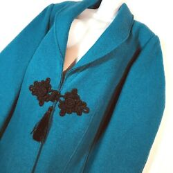 Soft Surroundings Boiled Wool Coat 2x Teal Frog Tassel Lunch At The Plaza