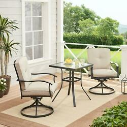 Bistro Set 3-piece Outdoor Patio Furniture Table Chairs Swivel Cushions Beige
