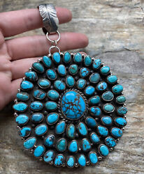 Native American Sterling Silver Turquoise Cluster Pendant. Cy