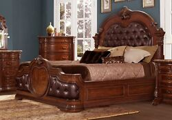 Stunning Queen Cherry Finish Bonded Leather Tufted Bed Bedroom Furniture