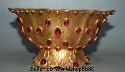 6.8 Old Chinese Copper 24k Gilt Gold Inlay Red Gem Dynasty Bowl Bowls Vessel