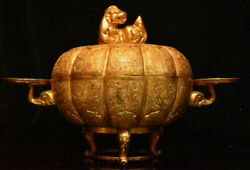 16.8 Old Chinese Copper 24k Gold Gilt Dynasty Beast Candle Holder Candlestick