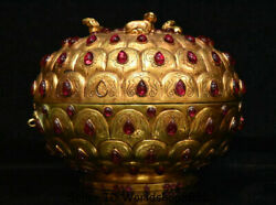 8.6 Marked Old Chinese Copper 24k Gold Gilt Inlay Gem Dynasty Beast Jewelry Box