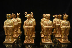 8.2 Old Chinese Copper 24k Gilt Gold Dynasty 12 Zodiac Animal People Statue Set