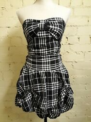 Yumi Black/white Check Strapless Dress Small Bustle-style Skirt Lined Bow