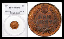 1891 1c Ms64rb Pcgs-90 Red-only 60 Finer Indian Head Cent