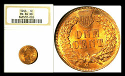 1903 1c Ms65rd Ngc-amazing Color Indian Head Cent