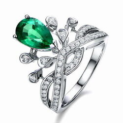 18ct White Gold Stunning Vivid Green Emerald And Vs Diamond Cocktail Ring