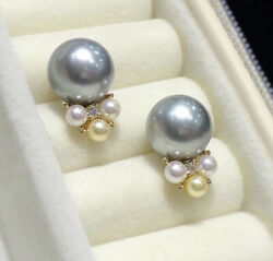18ct Solid Yellow Gold Natural White Diamonds And Genuine Pearl Stud Earrings Vs