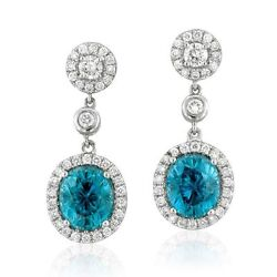 18ct White Gold Stunning Natural Blue Topaz And Diamond Earrings