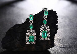 18ct White Gold Stunning Vivid Green Emerald And Diamond Cocktail Earrings Vs