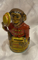 J Chein 30's Tin Litho Organ Grinder Monkey Coin Bank Tipping Hat Works