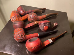 Vintage Lot Of 7 Imported Briar Dr Grabow Viscount Grand Duke Wood Pipes