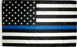Thin Blue Line American Flag 3x5 Ft Us Black And White Police Policemen Support