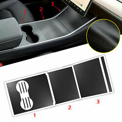 5d Carbon Fiber Style Center Console Cup Holder Stickers For Tesla Model 3 2017+