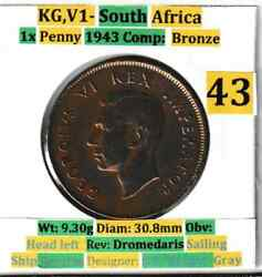 1943 South Africa George V 1 Penny Bronze Coins Vf Condition