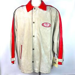 Nos Vtg Wu Wear Leather Jacket Sz 5xl Tan Red Embroidered Patch Logo 90s Nwt Nwd