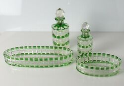 4pc Green Cane Cut To Clear Glass Perfume Bottles Vanity Comb Tray And Dish