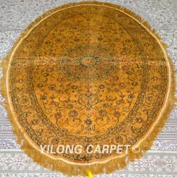 Yilong 4and039x6and039 Handwoven Silk Carpet Oval Unique Pattern Oriental Rugs Mc345b