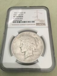 1921- Nice Key Date Us Peace Dollars High Relief Vf Detail Ngc