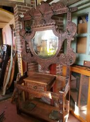 Antique Oak 1800's Hall Tree – Carved Details – Large And Beautiful