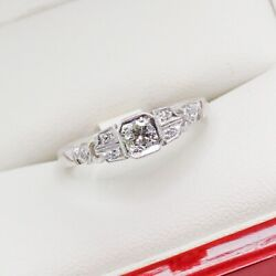 Antique Engagement Ring In 18ct White Gold Art Deco Engagement Ring Very P...