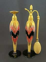 Perfume Atomizer And Dropper Set - Ornate Enamel From 1925 Devilbiss-style