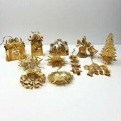 Danbury Mint Gold Christmas Ornaments Lot Of 11 From 2002, 2003, 2005 Thru 2013