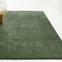 New Crate And Barrel 5x8 6x9 8x10 9x12 Baxter Bronze Green Solid Wool Area Rugs